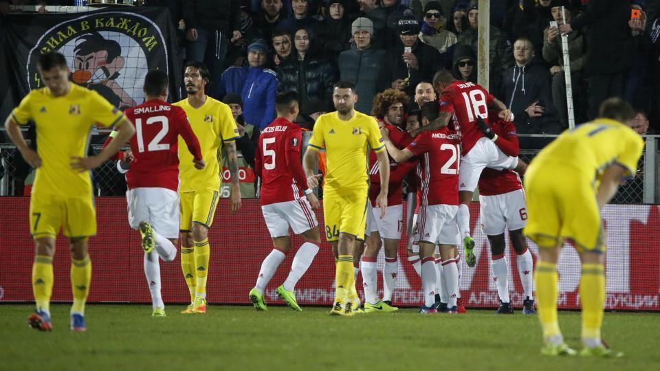 Manchester United's Henrikh Mkhitaryan celebrates scoring against FC Rostov in UEFA Europa League.