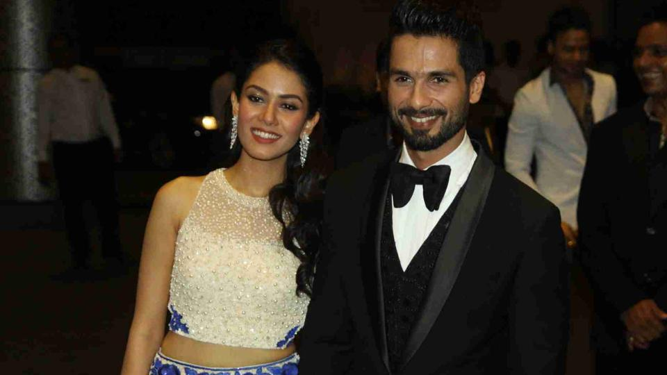 Actor Shahid Kapoor with his wife Mira Rajput during their wedding reception in Mumbai in 2015.