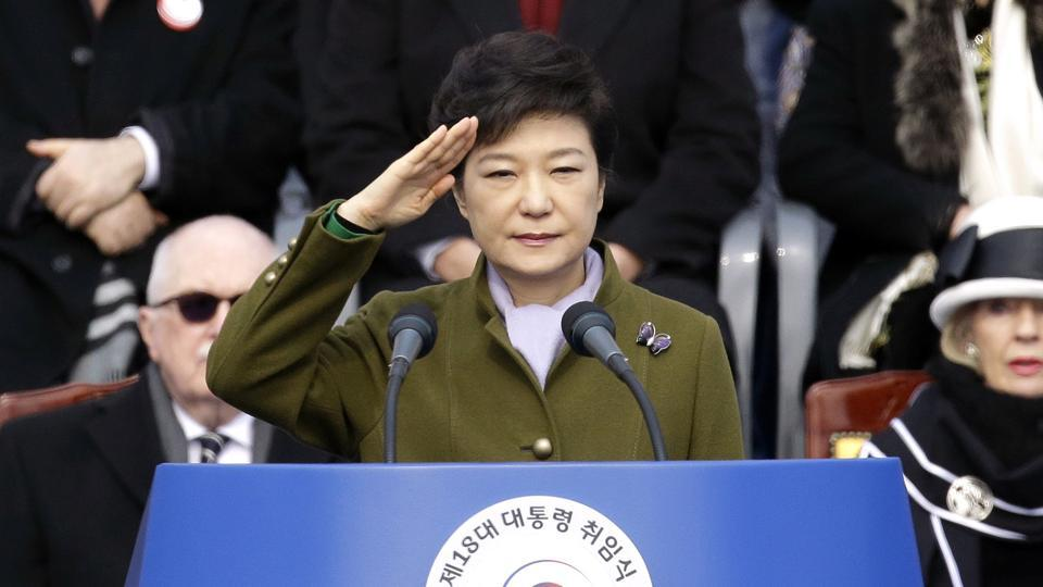 Park Geun-hye salutes during her inauguration ceremony as the 18th South Korean president in Seoul on February 25, 2013. She has become the country's first democratically elected leader to be ousted from office.