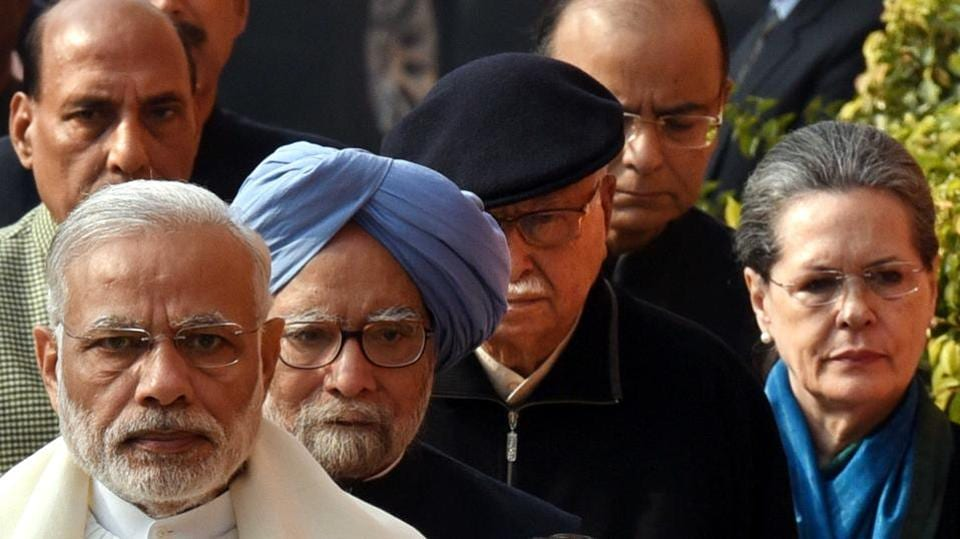Shortly before campaigning kicked off in poll bound states, PM Narendra Modi, Former PM Manmohan Singh, LK Advani, UPA chairperson Sonia Gandhi and home minister Rajnath Singh, finance minister Arun Jaitley were seen in one frame arriving for a tribute to martyrs who sacrificed their lives during Parliament terrorist attack. (Arun Sharma/HT PHOTO)