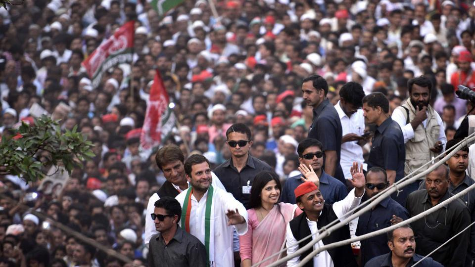 People gathered in hundreds in the streets of Varanasi on a day UP chief minister Akhilesh Yadav, his wife Dimple, and Congress vice-president Rahul Gandhi held a roadshow, as did Prime Minister Narendra Modi for the BJP.