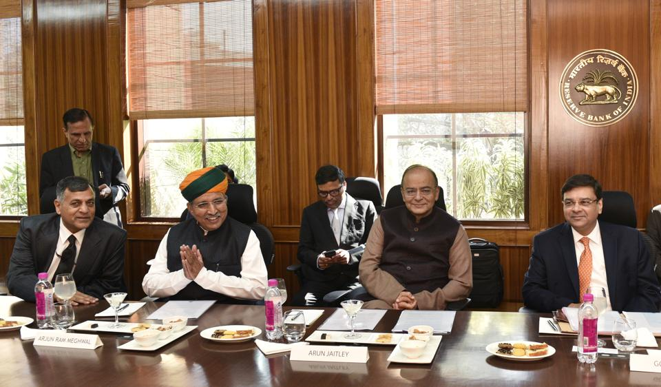 New Delhi, India - Feb. 11, 2017: Finance Minister Arun Jaitley (2nd R) his deputy Arjun Ram Meghwal (2nd L) with Reserve Bank Governor Urjit Patel (R) at the RBI Board Meeting in New Delhi, India, on Saturday, February 11, 2017. (Photo by Mohd Zakir/ Hindustan Times)
