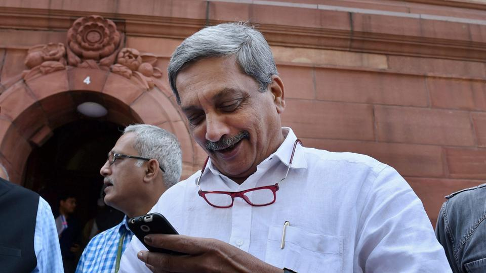 Defence minister Manohar Parrikar at the Parliament house on the second day of Budget Session II of Parliament in New Delhi. (PTI)