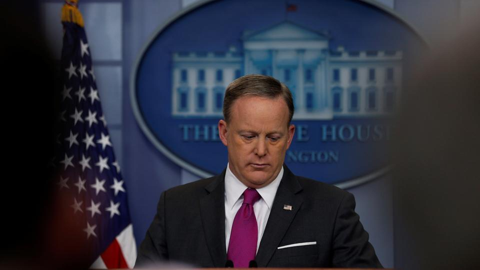 White House Press Secretary Sean Spicer holds the daily press briefing at the White House in Washington on March 9.