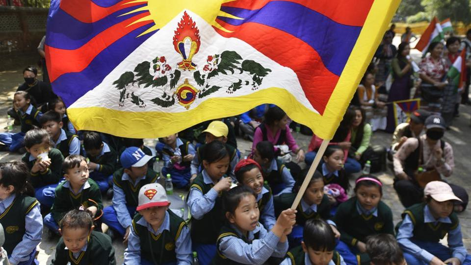 Tibetan children  during the 58th anniversary of Tibetan National Uprising day on 10 March.  (Ravi Choudhary/HT PHOTO)