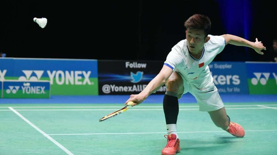 Chen Long of China in action at the All England Open Badminton Championships in Birmingham.  The Olympic champion has crashed out