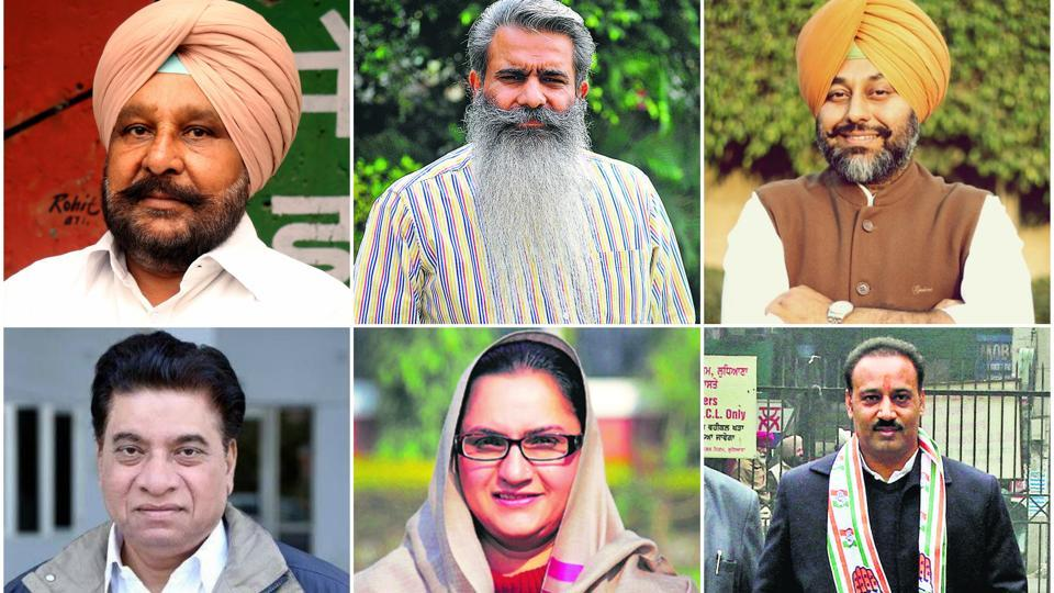 Congress leaders: Ajaib Singh from Malout, Bharat Bhushan Ashu from Ludhiana West, Gurkirat Singh Kotli from Khanna, Surinder Chaudhary from Kartarpur,  Razia Sultana from Malerkotla, and Sanjeev Talwar Ludhiana East.  (HT File Photos)