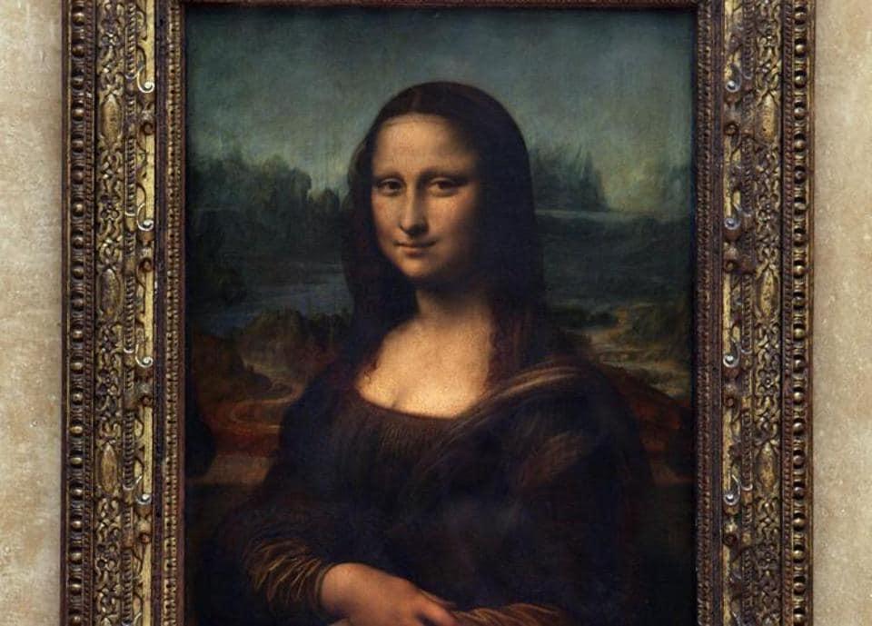 Leonardo da Vinci's Mona Lisa at the Louvre museum in Paris.