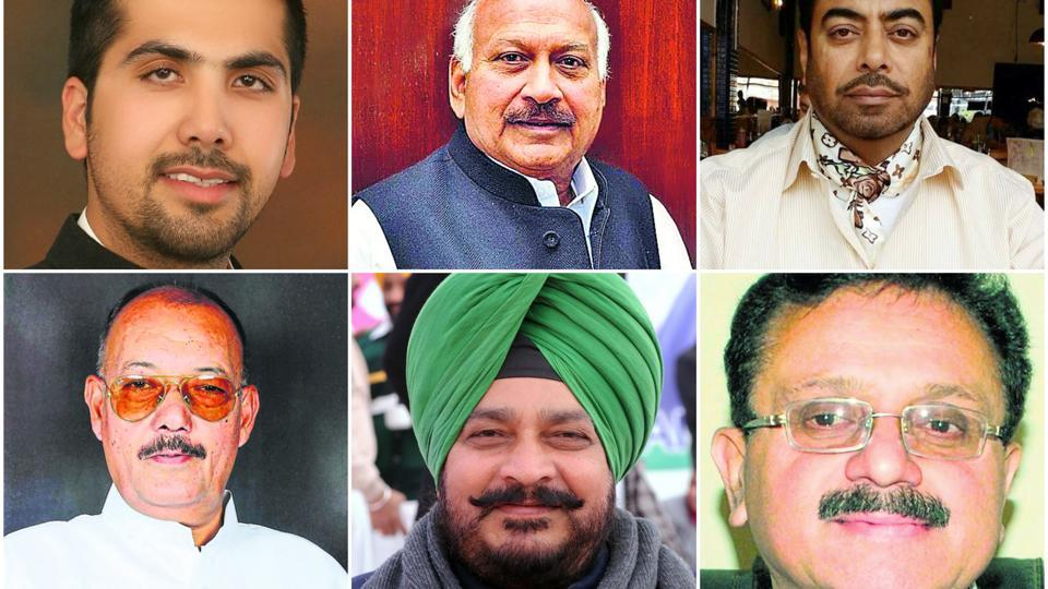 Congress leaders: Angad Singh from Nawanshahar, Brahm Mohindra from Patiala Rural, Harjot Kamal from Moga, Rajnish Kumar from Mukerian,  Sadhu Singh Dharamsaut from Nabha, and Sunil Dutti from Amritsar North.  (HT File Photos)