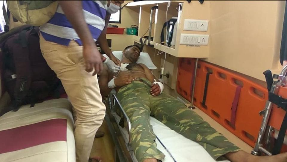 A security personnel injured in the Maoist attack in Bheji area of Chhattisgarh's Sukma district on Saturday.