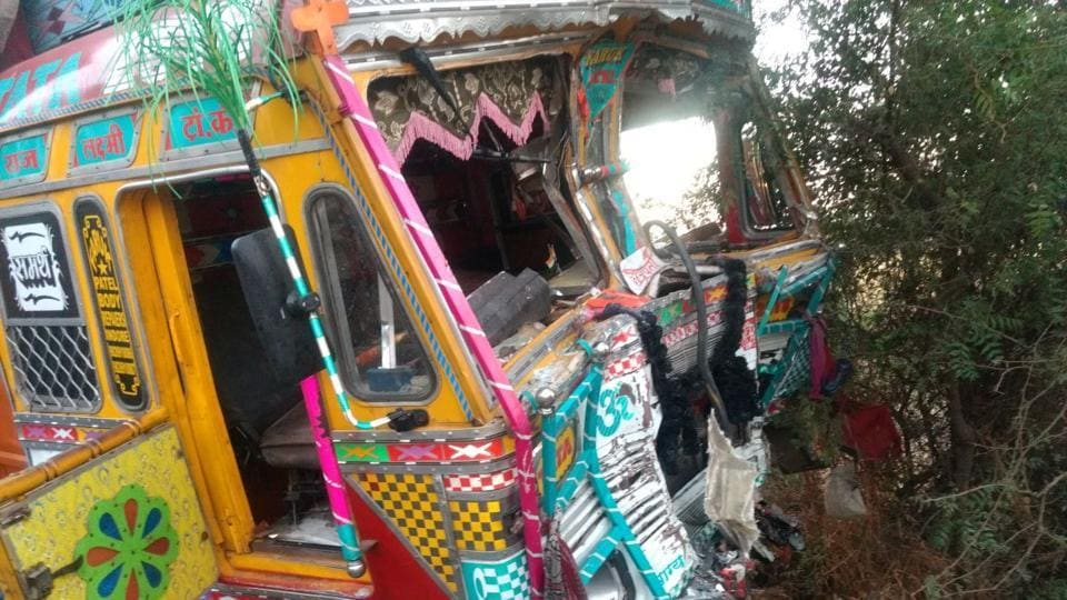 The bus and the truck collided head on, on the Pune-Hyderabad highway early Saturday.