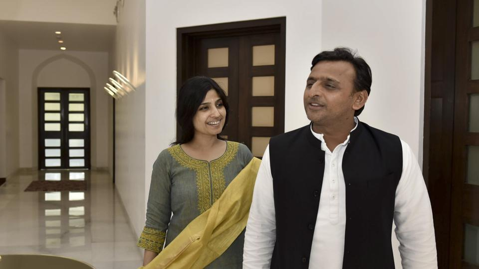 Uttar Pradesh chief minister Akhilesh Yadav with his wife Dimple at his official residence in Lucknow  on March 10, 2017. A day before the assembly election votes are counted, the couple believe their pitch for development has won the state in their favour.