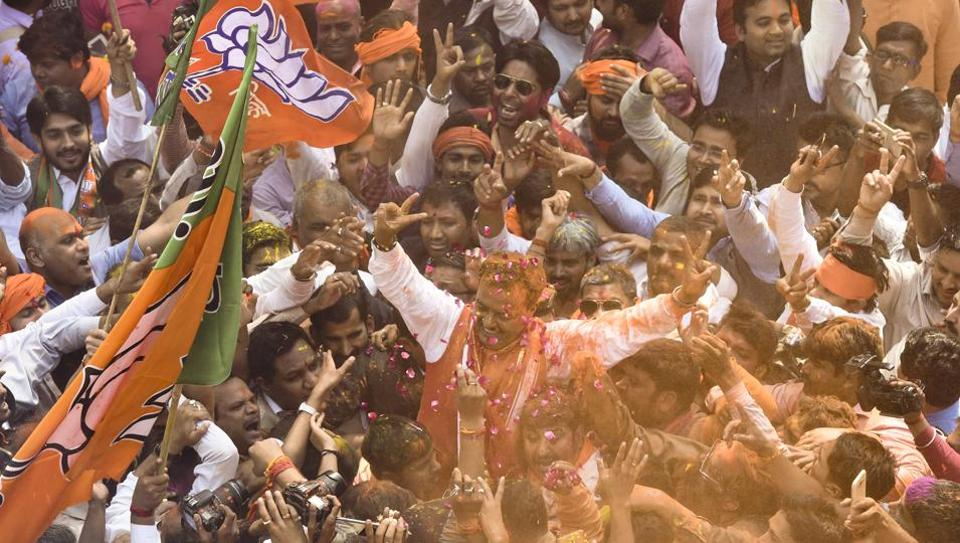BJP Uttar Pradesh president Keshav Prasad Maurya celebrate with party workers celebrates the thumping victory in the assembly elections.