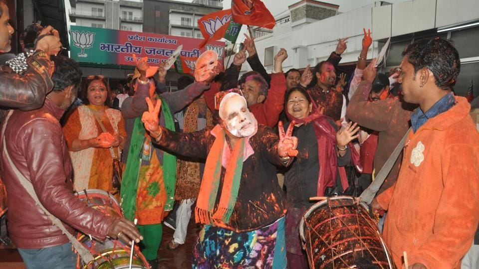 Celebrations at BJP office in Dehradun where the party is projected to be in majority to form government. (Vinay Santosh Kumar/Ht Photo)