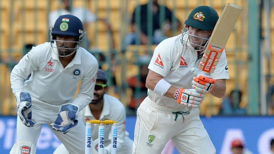 David Warner in action during the Test match between India and Australia in Bangalore.