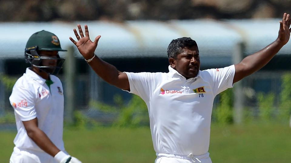 Rangana Herath celebrates after he dismissed Shakib Al Hasan on Day 5 of the opening Test match between Sri Lanka and Bangladesh at the Galle International Cricket Stadium on Saturday.