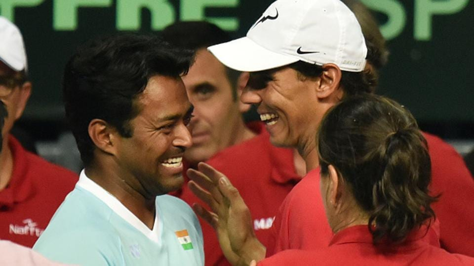 India's Leander Paes wishes Spain's Rafael Nadal after their Davis Cup match in Delhi  on September 18, 2016.