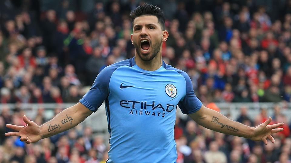 Manchester City's Sergio Aguero celebrates after scoring their second goal during the  FA Cup match against Middlesbrough.