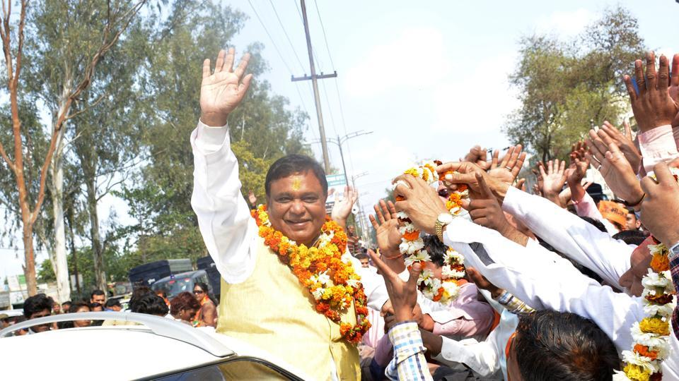 Atul Garg after winning the Ghaziabad city seat on Saturday. He defeated BSP's sitting MLA Suresh Bansal.