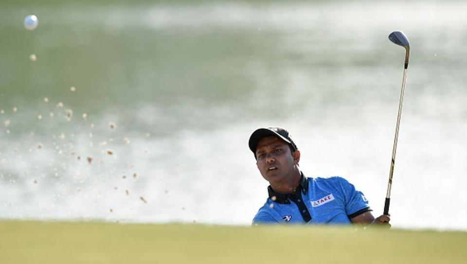 SSP Chawrasia of India plays a shot during the third round of the Indian Open.