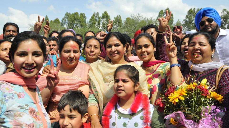 Family members of congress candidate Balbir Singh Sidhu celebrating his victory of Punjab Vidhan Sabha election in SAS Nagar Mohali on Saturday, March 11, 2017.