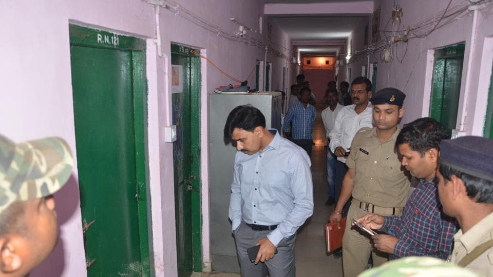 Police personnel investigating outside at hostel no 2 where the medical student committed suicide at RIMS campus in Ranchi