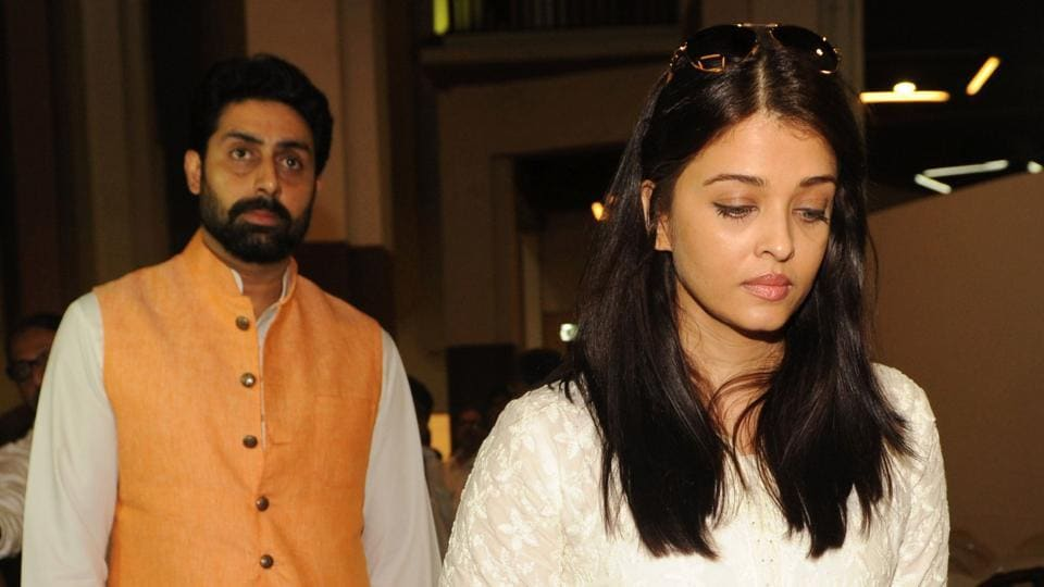 Abhishek Bachchan and Aishwarya Rai Bachchan at the prayer meeting for Veerappa Shetty, the father of actor Suniel Shetty in Mumbai on March 4, 2017.