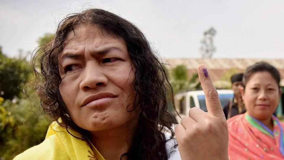 Imphal: People's Resurgence & Justice Alliance (PRAJA)'s Irom Sharmila shows her finger marked with indelible ink after casting her vote at a polling station during the first phase of Assembly polls in Imphal, Manipur.