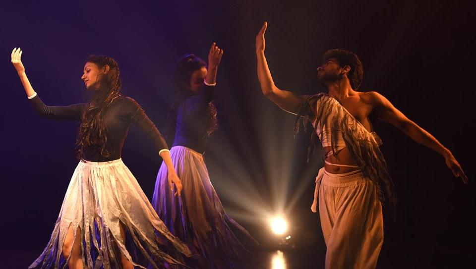 Artist of Sangeet Natak Academi  perform a dance play ' Khoj - a search' and Game of Dice (Based on National Epic-Mahabharata  at Meghdoot Theatre III, in New Delhi, India. (Sonu Mehta/HT PHOTO)