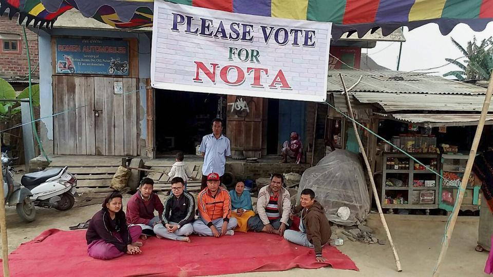 A group of Manipuri youths appeal voters to opt for the None Of The Above (NOTA) during the 1st phase of Manipur Assembly election, at Khuria in Wangkhei Constituency, Imphal West.