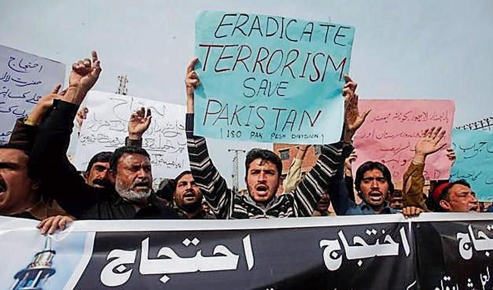 Protestors demonstrate against the recent bomb blasts in various parts of Pakistan.