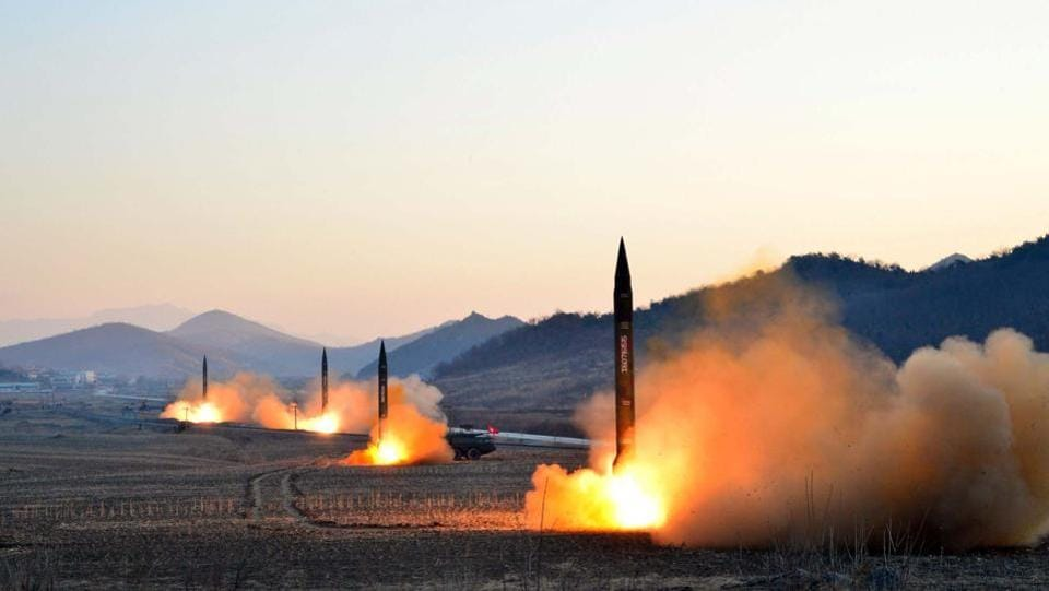 North Korea's Korean Central News Agency (KCNA) via KNS on March 7, 2017 shows the launch of four ballistic missiles by the Korean People's Army (KPA) during a military drill at an undisclosed location in North Korea. Nuclear-armed North Korea launched four ballistic missiles on March 6 in another challenge to President Donald Trump, with three landing provocatively close to America's ally Japan. (KCNA VIA KNS / AFP)