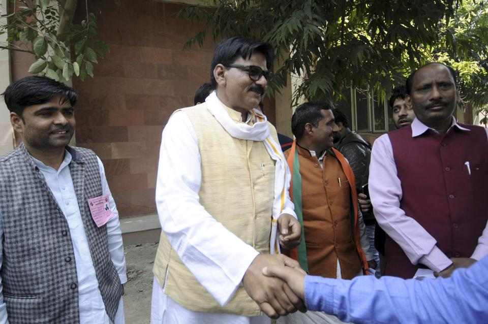 This is the first time that Dhirendra Singh (centre), a veteran leader from Jewar constituency, has managed to secure a win in the assembly elections.
