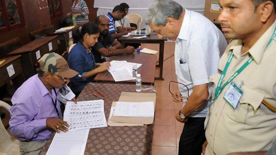 File photo of Defence Minister Manohar Parrikar at a polling booth in Goa.