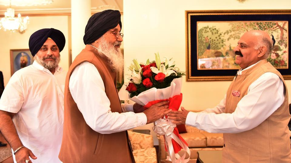 The senior Badal, who won from Lambi, put in his papers after meeting Punjab governor and was accompanied by SAD chief Sukhbir Singh Badal.