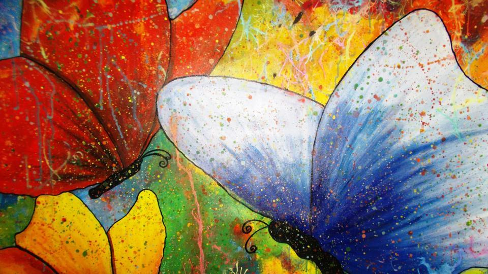 Shubhra's butterfly painting, 'Colours of Life'.
