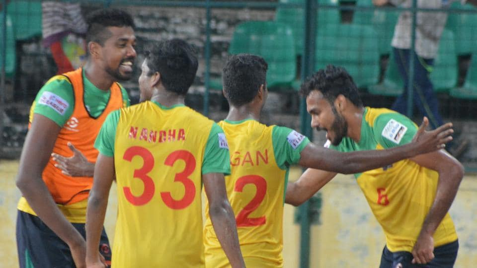 Chennai CIty FC players celebrate after scoring a goal against East Bengal in the I-League.