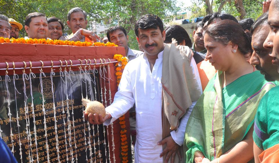 Delhi BJP chief Manoj Tiwari launched a pilot project to install CCTVs in EDMC schools at Yamuna Vihar.