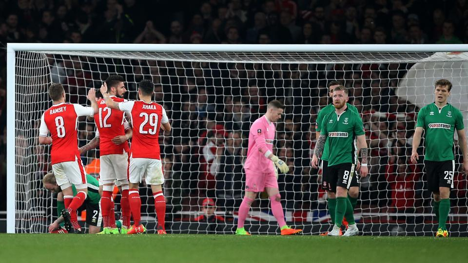 Arsenal F.C. gave their manager Arsene Wenger some relief after a 5-0 thrashing of Lincoln City F.C. in the FACup.