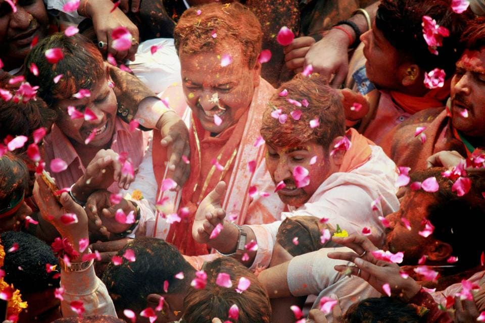 UP BJP President Keshav Prasad Maurya celebrates with his workers after the victory in the assembly elections. (Nand Kumar  / PTI)