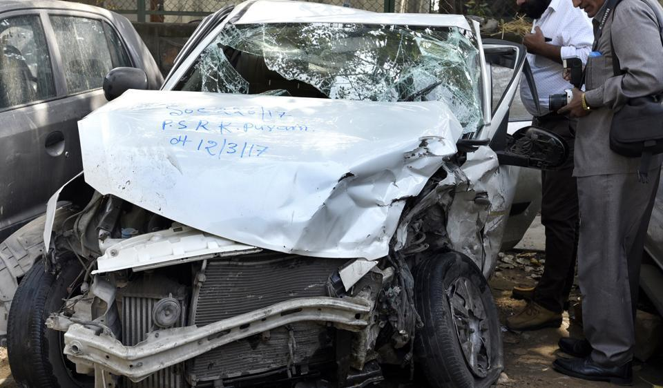 Four people were injured after a speeding BMW crashed into an Uber cab and auto before hitting a boundary wall on Sunday morning in south Delhi's RK Puram on Sunday.