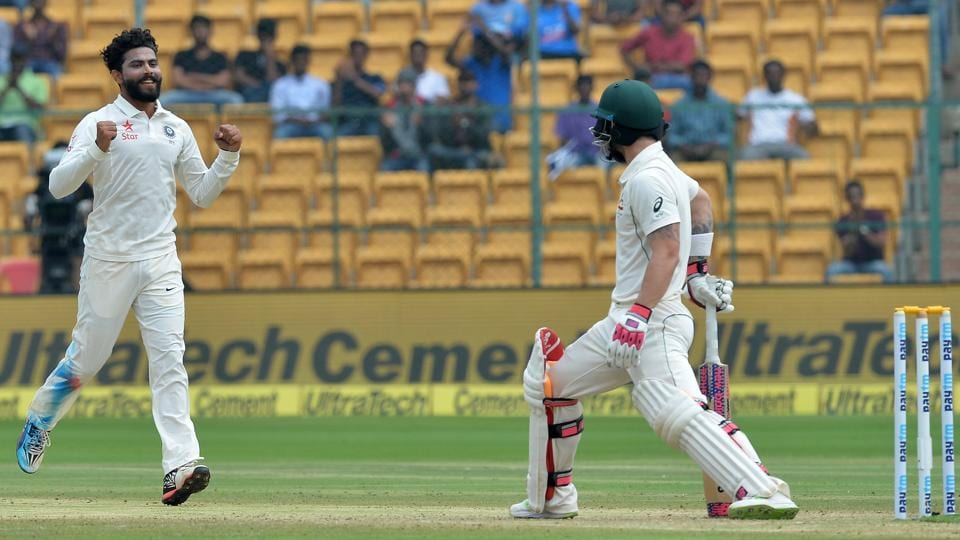 India cricket team spinner Ravindra Jadeja (left) celebrates after trapping Australia cricket team wicketkeeper-batsman Matthew Wade on the third day of the second Test at MChinnaswamy Stadium in Bangalore on March 6.