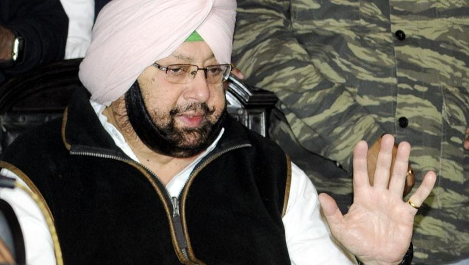 Punjab Congress chief Capt Amarinder Singh talking to media persons at his residence in Patiala on Sunday.