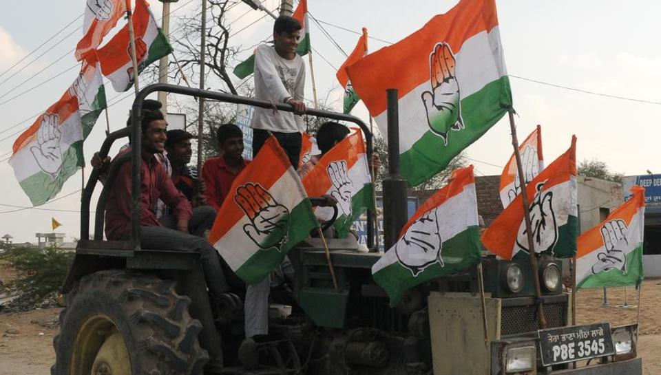 Congress supporters celebrating the party's victory in Fazilka on Saturday.