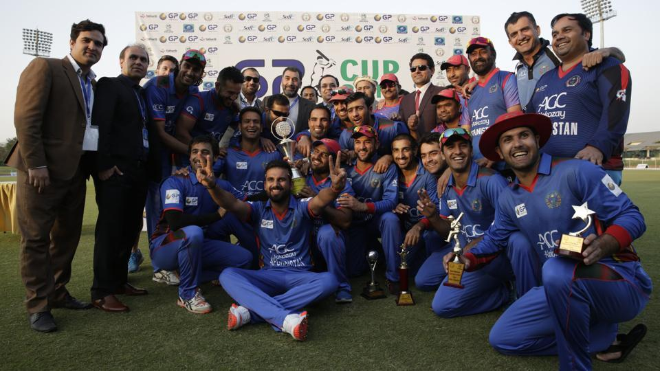 Afghanistan cricket team pose for a group photo after winning against Ireland in the 3rd T20 encounter.