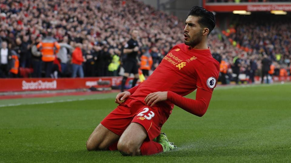 Liverpool FC's Emre Can celebrates scoring their second goal against Burnley FC.
