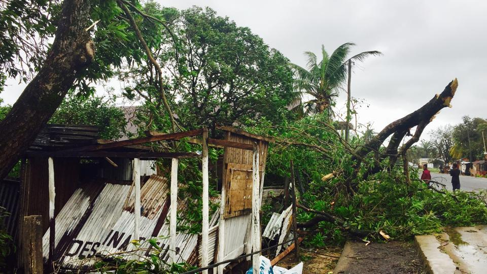 A small building damaged by a tree in a street in Sambava Madagascar on  March 8.