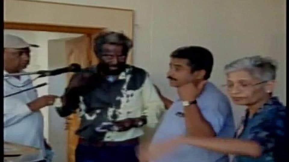 Kannada writer Yogesh Master's face blackened by unidentified persons in Davanagere on Sunday.