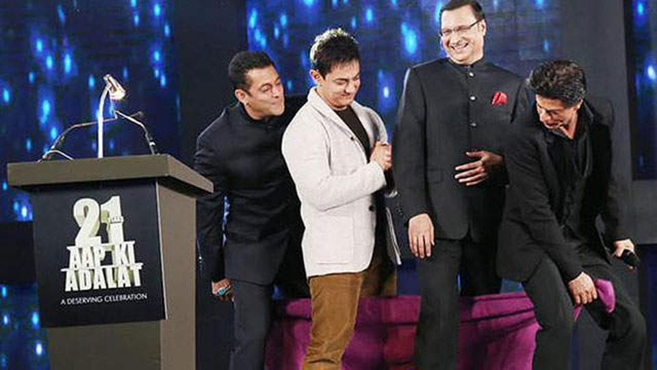 One of the rare moments when all three Khans of Bollywood came together.