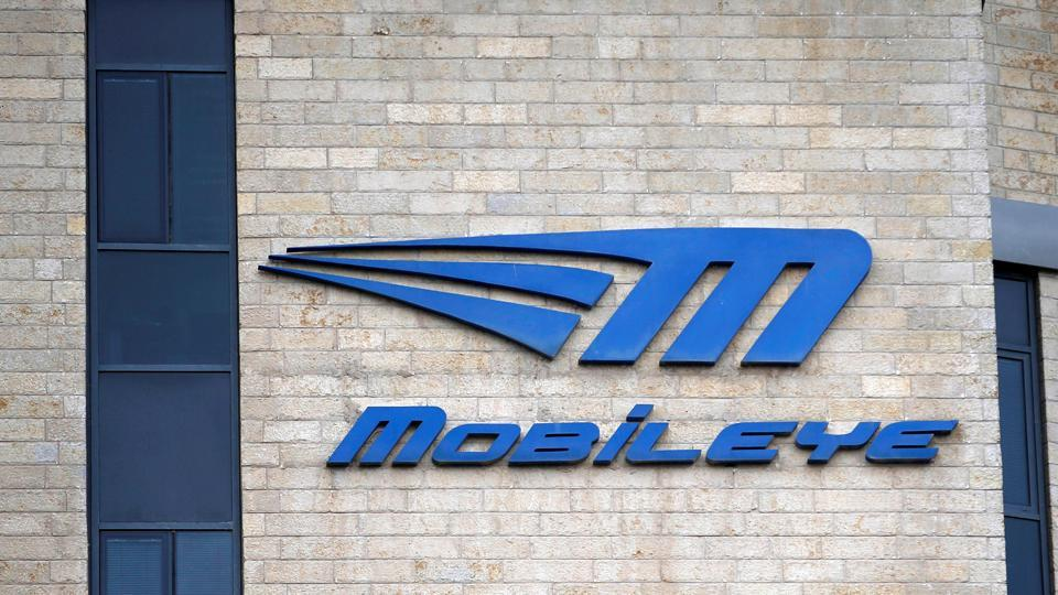 The logo of Israeli driverless technology firm Mobileye is seen on their office building in Jerusalem.